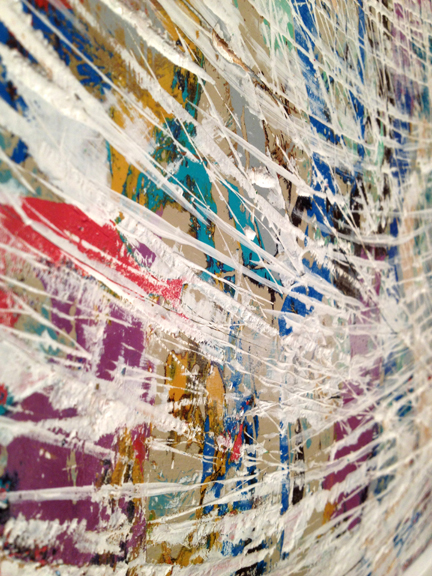 Intertwine (Detail photo) 2012 – 26″ x 38″ Acrylic on board (with frame)