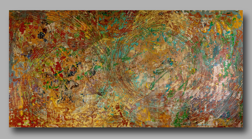 Large painting, abstract art, mixed media, street posters, madison park