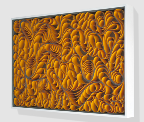 modern, Original artwork, sculpture, abstract art, canvas on edge, fine art, blue, ocean, water, coastal art, seattle, jason hallman, stephen stum, orange, stallman, stallman studio, canvas artwork, canvas sculpture