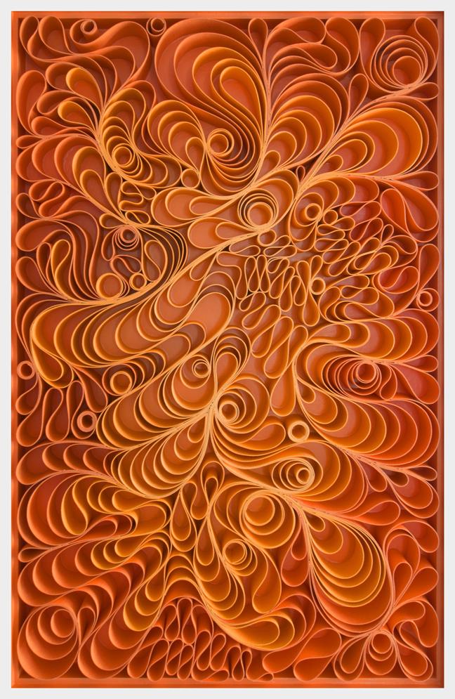 Original artwork, sculpture, seattle, jason hallman, stephen stum, orange, mid century, fire, warm color, apollo, orange art