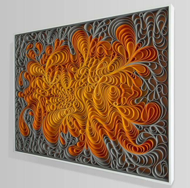Original artwork, sculpture, seattle, jason hallman, stephen stum, orange, mid century, fire, warm color, solar flare