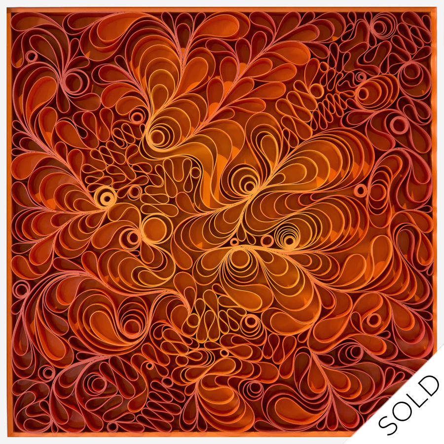 stallman, Original artwork, paper art, sculpture, seattle, jason hallman, stephen stum, orange, mid century, fire, warm color, solar flare