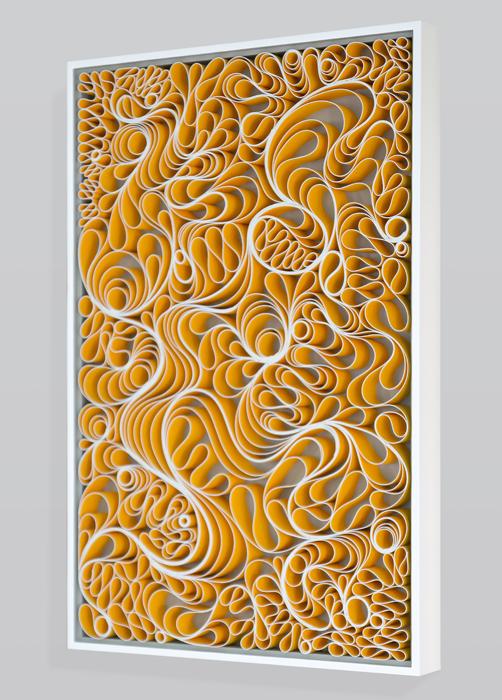 Stallman, modern art, Original artwork, sculpture, abstract art, canvas on edge, fine art, monochrome, holographic, seattle, jason hallman, stephen stum, paper sculpture, organic, orange art