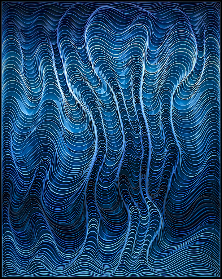 Waves are Coming In (Blue) 24×60″ Sculpted canvas and acrylic Artists: STALLMAN – Jason Hallman + Stephen Stum Inquire about availability here
