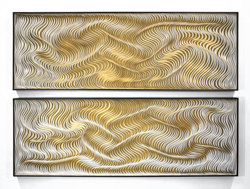 Stallman, Stephen Stum, Jason Hallman, modern art, paper art, wall sculpture, original artwork, sculpture, abstract art, canvas on edge, fine art, optical illusion, interior Design, seattle, Stallman studio, canvas on edge, gold, metallic, water,