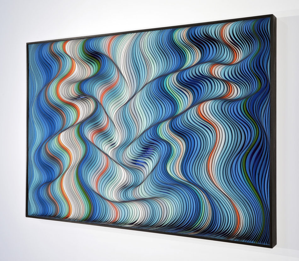 Stallman, Stephen Stum, Jason Hallman, modern art, wall sculpture, paper art, original artwork, sculpture, abstract art, canvas on edge, fine art, optical illusion, seattle, Stallman studio, canvas on edge, blue art, teal art, ocean art, cool tones, interior design
