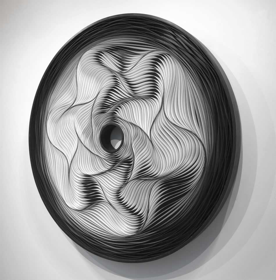Stallman, Stephen Stum, Jason Hallman, modern art, wall sculpture, paper art, original artwork, sculpture, abstract art, canvas on edge, fine art, optical illusion, seattle, Stallman studio, canvas on edge, blue art, teal art, ocean art, cool tones, interior design
