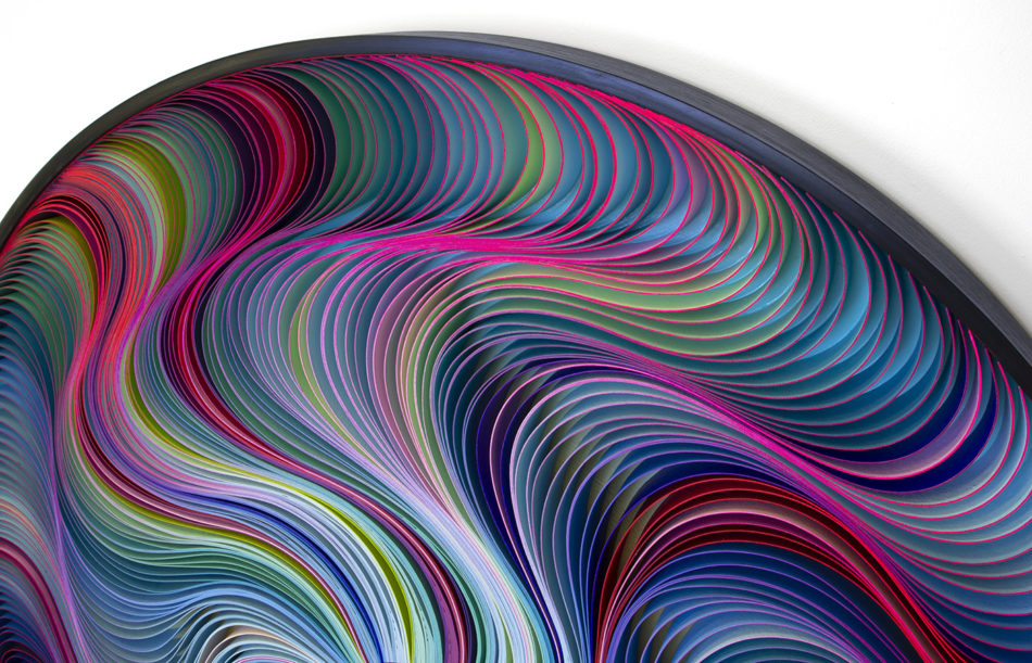 Stallman, Stephen Stum, Jason Hallman, modern art, wall sculpture, paper art, original artwork, sculpture, abstract art, canvas on edge, fine art, optical illusion, seattle, Stallman studio, canvas on edge, blue art, teal art, ocean art, cool tones, interior design, rainbow art, neon art