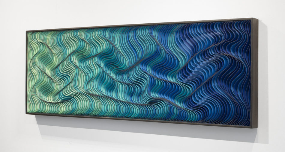 Stallman, Stephen Stum, Jason Hallman, modern art, wall sculpture, paper art, original artwork, sculpture, abstract art, canvas on edge, fine art, optical illusion, seattle, Stallman studio, canvas on edge, blue art, teal art, ocean art, cool tones, interior design, rainbow art, neon art